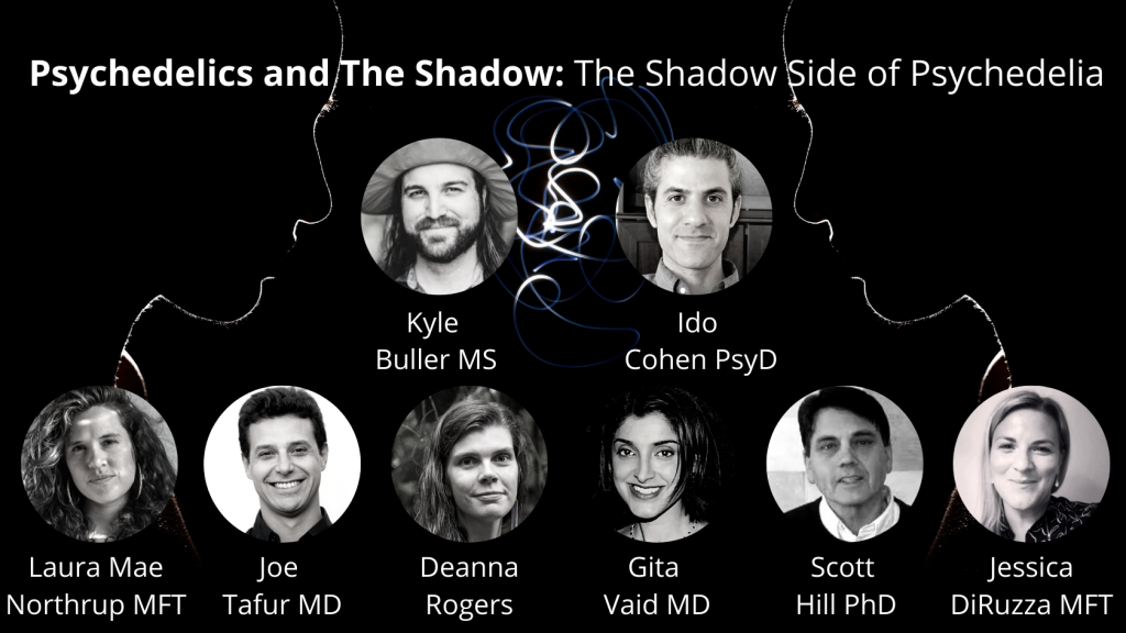 advertisement for psychedelics today course on the depth psychology concept of the shadow: Psychedelics and the Shadow: The Shadow Side of Psychedelia, featuring photos of each of the professors in small circles. starting with Kyle Buller MS on the top left and Ido Cohen PsyD on the top right. Then on the bottom from left to right, Laura Mae Northrup MFT, Joe Tafur MD, Deanna Rogers, Gita Said MD, Scott Hill PhD, Jessica DiRuzza MFT.