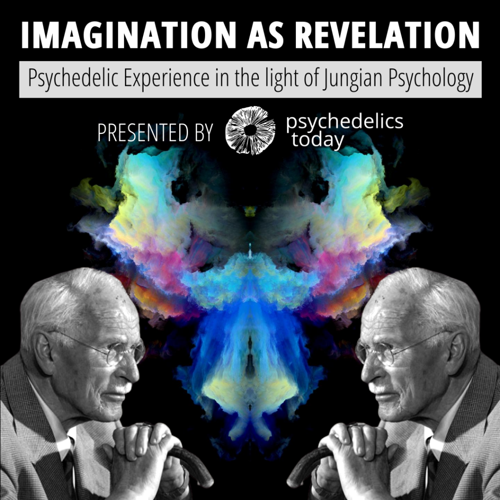 advertisement for the psychedelics today course Imagination as Revelation: Psychedelic Experience in the light of Jungian Psychology featuring a colorful ink blot symmetrical shape in the middle with mirroring photos of Carl Jungian, an old white man with receding white hair.