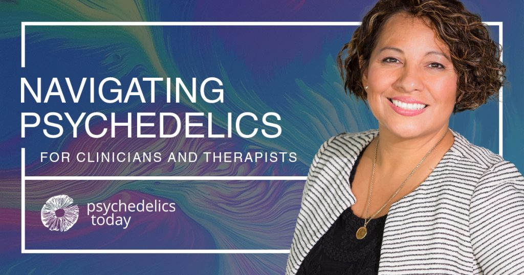 advertisement for psychedelics today course, Navigating Psychedelics for Clinicians and Therapists. On the right hand side there is a photo of a white woman with short brown hair smiling.