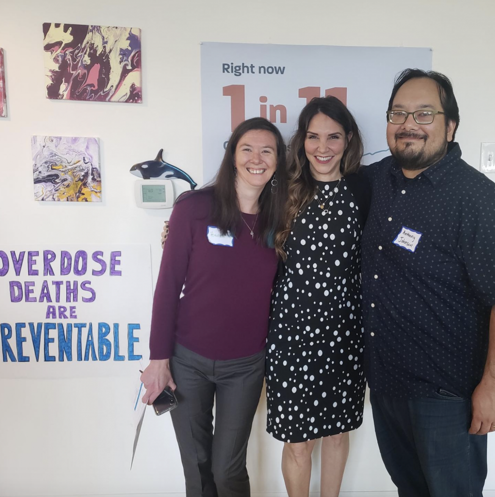 Photo of the three chief petitioners of Oregon's Measure 110. Haven Wheelock, Janie Marsh Gullickson, and Anthony Johnson.