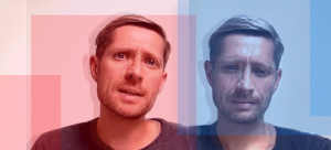 photo collage of Robin Carhart Harris to represent psilocybin for depression. left side Robins face slightly out of focus in red, right side is Robin's face with a different expression in blue