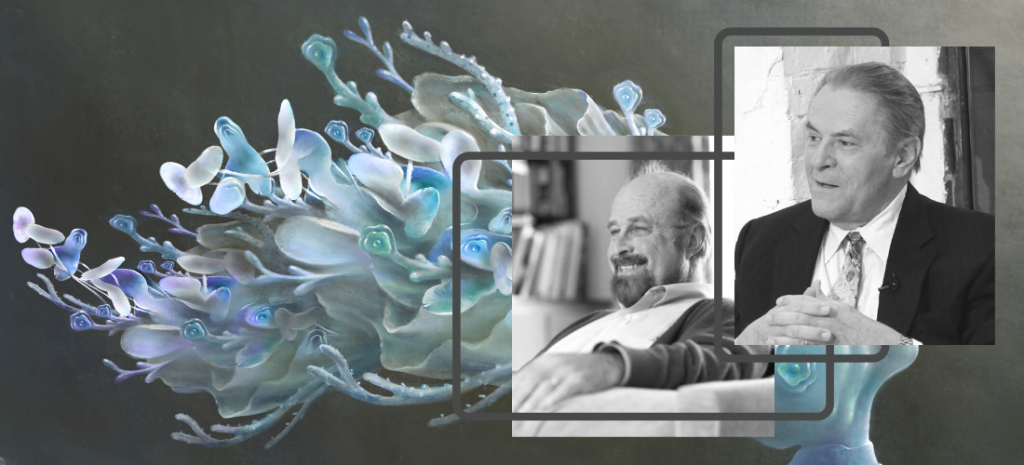 photo collage of Dr Stanislav Grof and Dr James Fadiman in black and white