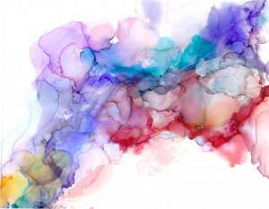 Colored alcohol ink blot to represent Q&A with Keeno Ahmed-Jones on MAPS Canada