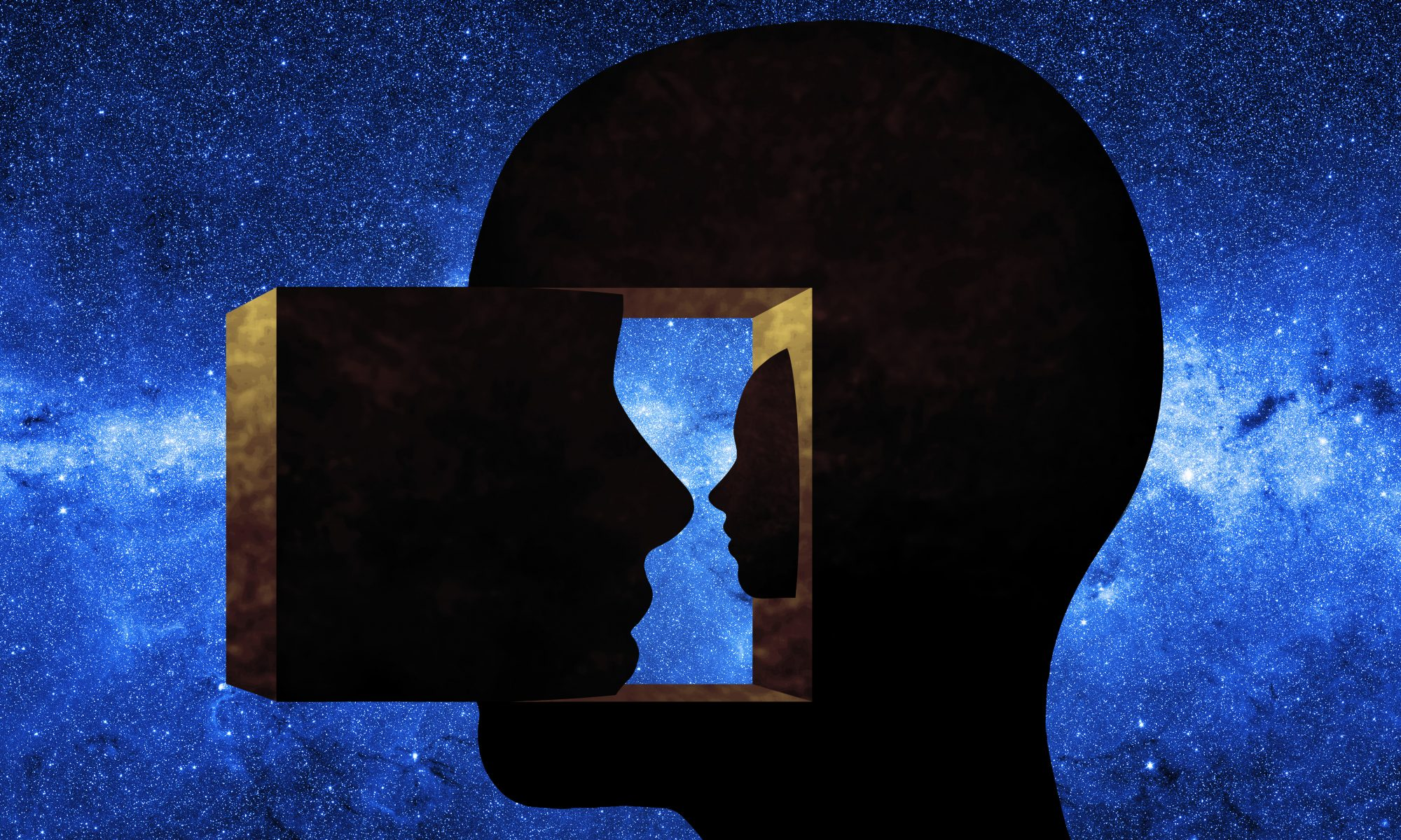 illustration of a Human head looking inward with a starry sky in the background to represent dissociation and dissociative drugs like ketamine