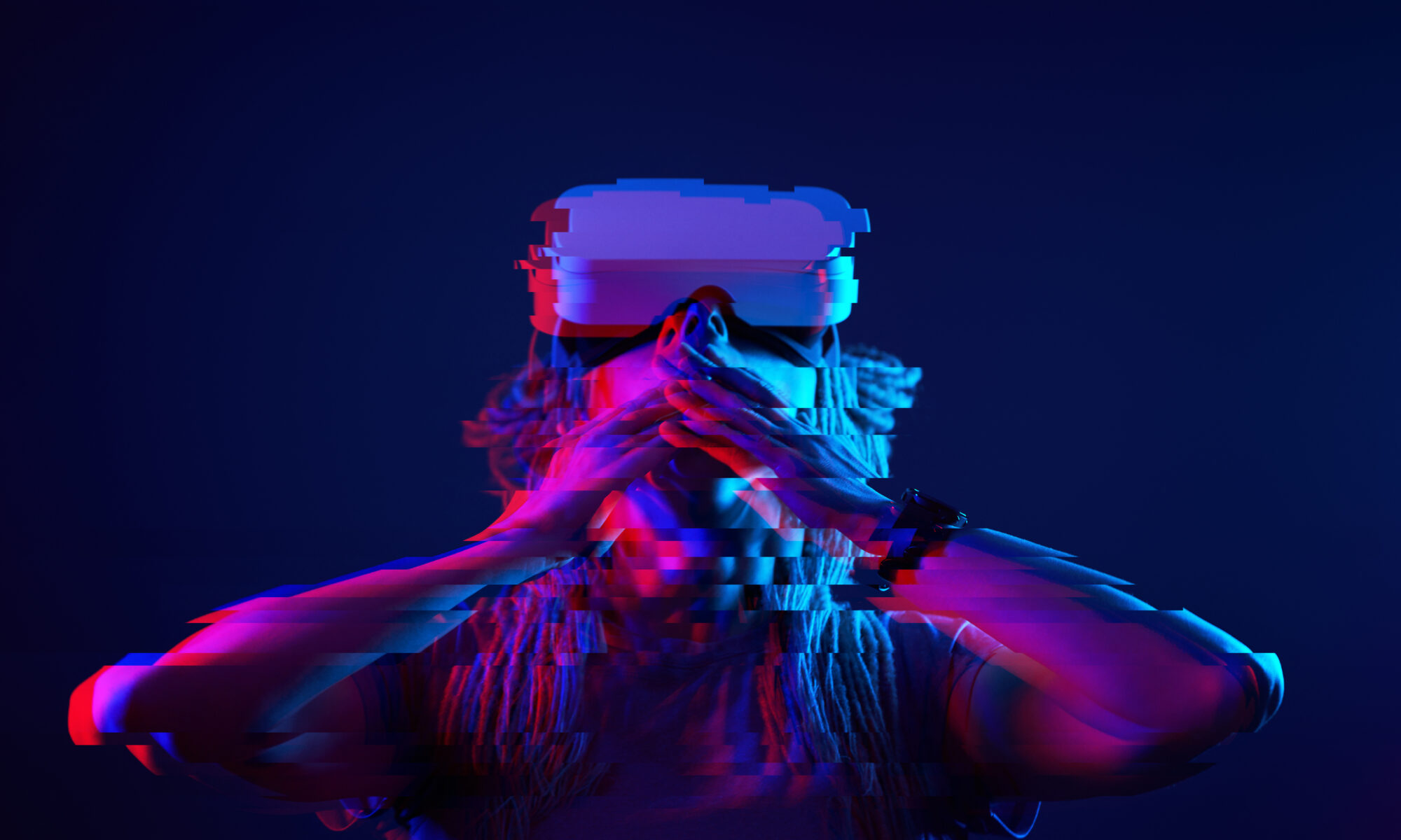 woman using virtual reality headset with glitch effect to represent psychedelic VR