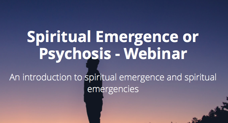 advertisement for psychedelics today course. text reads: 'Spiritual Emergence or Psychosis' an introduction to spiritual emergence and spiritual emergencies. image is a silhouette of a person at sunset with shadows of pine trees around them.