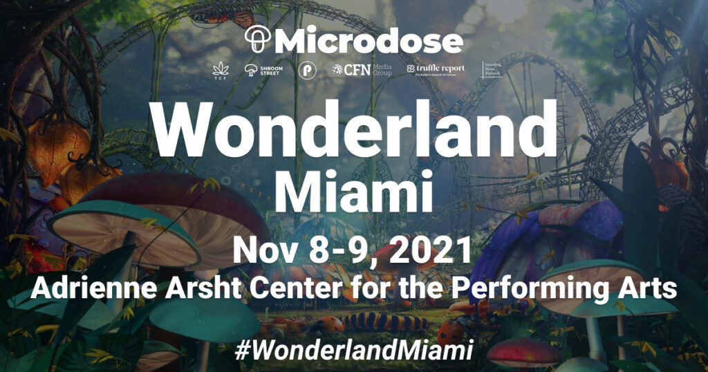 advertisement for Microdose's Wonderland 2021 in Miami.